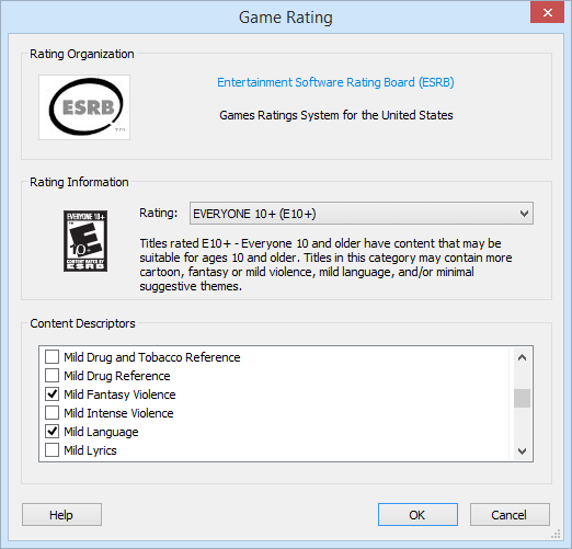 Games Explorer Rating