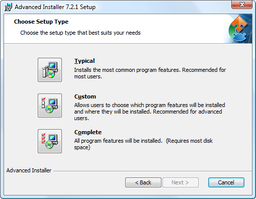 Advanced installer screenshots for Windows installer