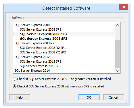 Detect Installed Software Dialog