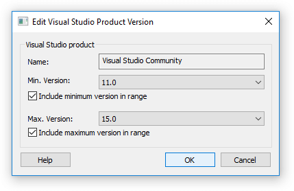 Edit Visual Studio supported product