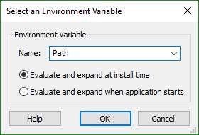 The Environment Variable Picker Dialog