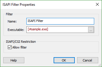 ISAPI Filter Properties Dialog