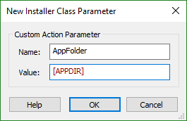 Edit .NET Installer Class Parameter Dialog