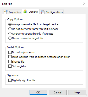 File Options Dialog