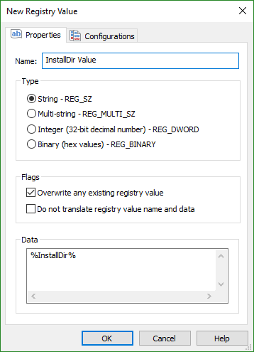 Registry Value Dialog