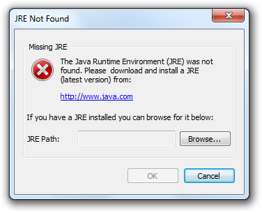 Missing JRE error message