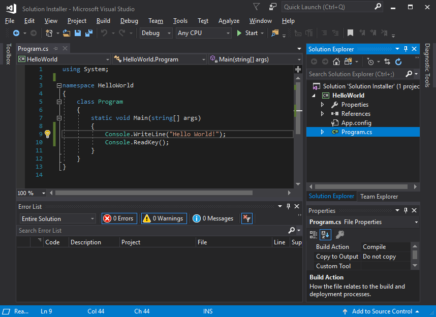 Create an installer from Visual Studio