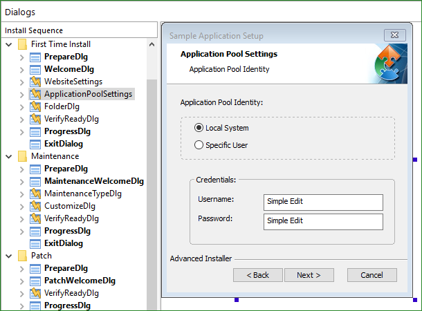 Application Pool Settings Dialog