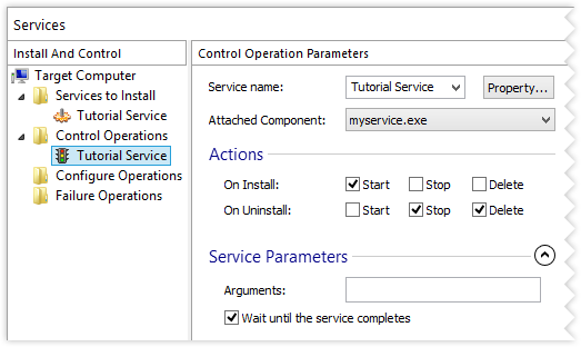 Control Service Parameters