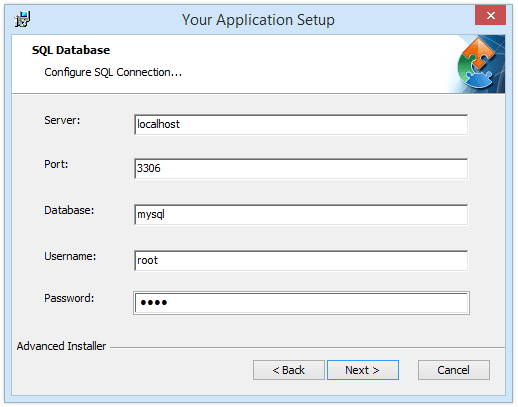 MySQL connection settings