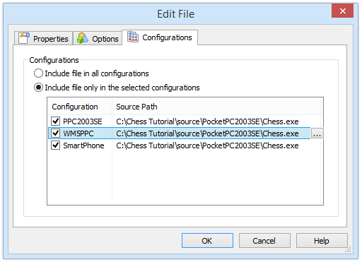 Edit File Configurations