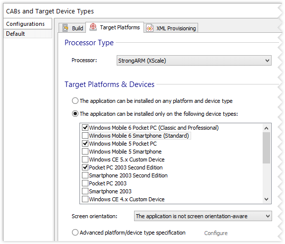 Configurations Page, Target Platforms Tab settings